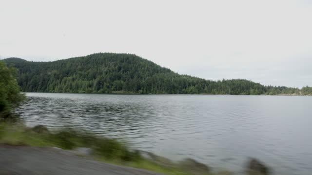 Scenic landscape and lake, Doe Bay driving POV