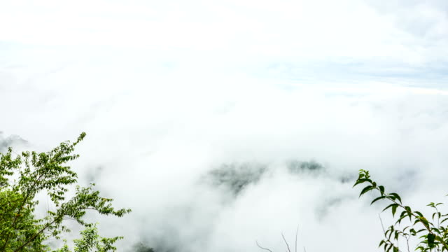 scenic landscape of fog flowing over green mountain in beautiful day, time lapse shot - condensation stock videos & royalty-free footage
