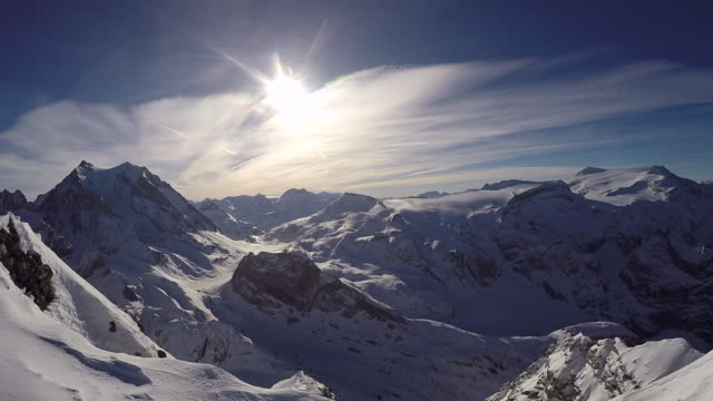 Scenic landscape view of the mountains in winter. - Slow Motion