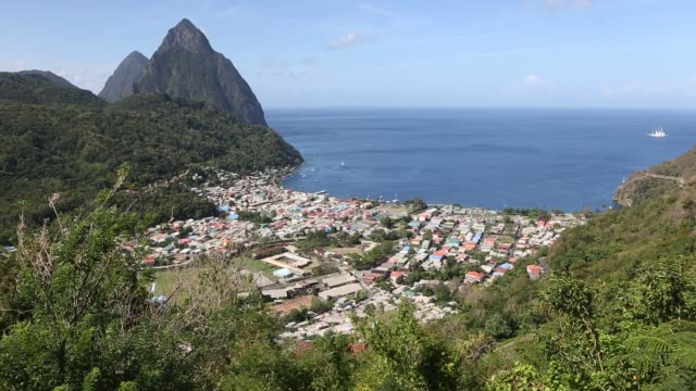 scenic of soufriere - st lucia stock videos & royalty-free footage