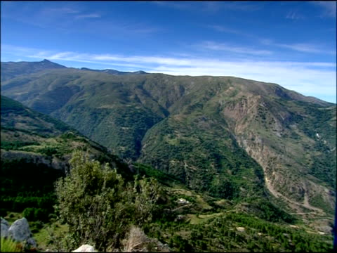 Scenic pan across mountain valley, Parque Nacional Sierra Nevada (Granada y Almeria), Andalusia, Southern Spain
