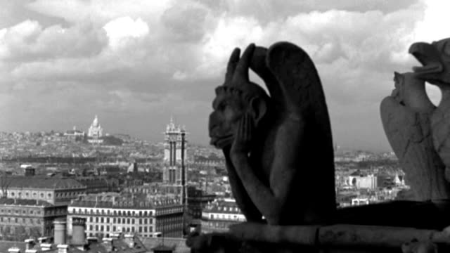 dx - scenic paris landmarks - from a roof - gorgoyles r f.g. - sacre coeur far l b.g. - clouds in sky - b&w.  (neg only) - サクレクール大聖堂点の映像素材/bロール