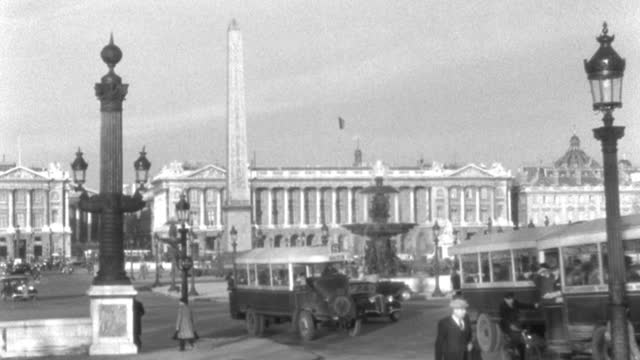 dx - scenic paris landmarks - pan l to r over the place de la concorde - ministry buildings, in m.l.s. - b&w. - 1935 stock videos & royalty-free footage