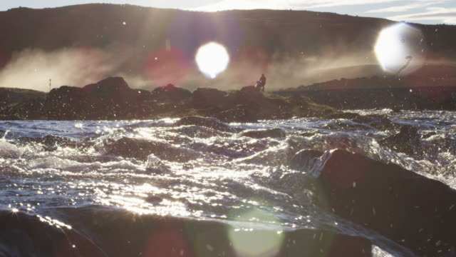 Scenic river rapids at sunset, slow motion