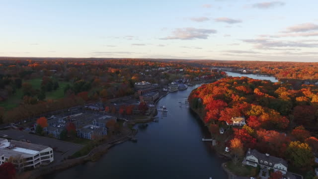 Scenic river sunset, aerial