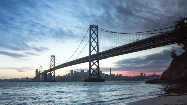 scenic san francisco sunset - san francisco oakland bay bridge stock videos and b-roll footage
