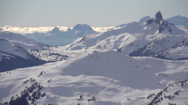 A scenic snow covered mountain range. - Super Slow Motion - filmed at 240 fps