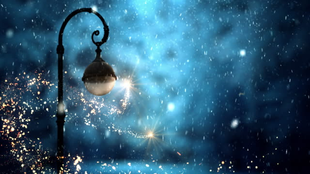 scenic street lamp with night sky - christmas stock videos & royalty-free footage
