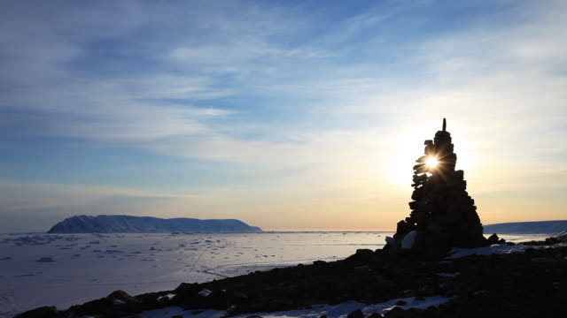 scenic sunset over rock sculpture in greenland, truck right - sculpture stock videos and b-roll footage
