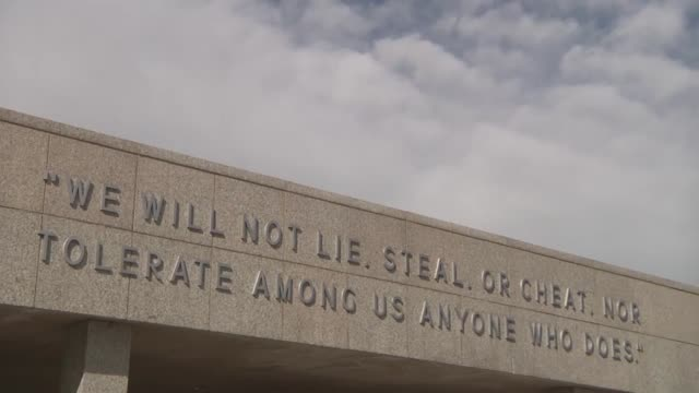 scenic time lapse shots from around the terrazzo at the air force academy. includes a bronze statue of brigadier general james risner, the... - air force stock videos & royalty-free footage