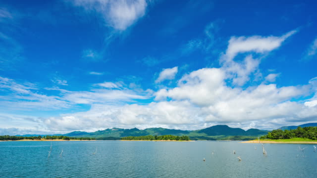 t/l pan scenic tropical island in lake with blue sky and moving clouds - esposizione lunga video stock e b–roll