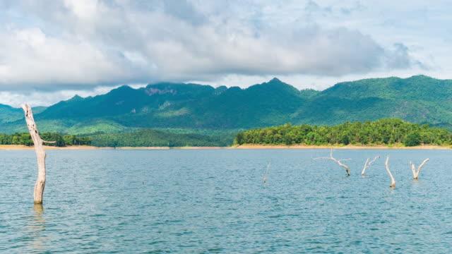 vídeos y material grabado en eventos de stock de t/l tu escénica isla tropical en el lago con cielo azul y nubes en movimiento - árbol tropical