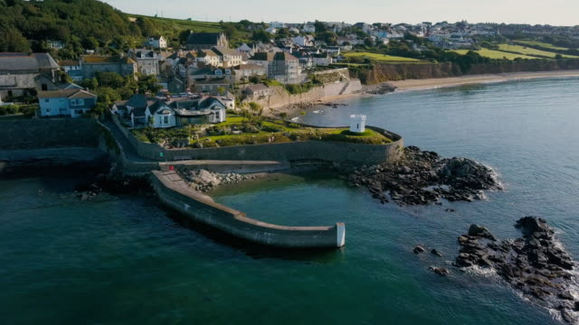 scenic view flying above cornwall coastline landscapes - 4k - cornwall england stock videos & royalty-free footage