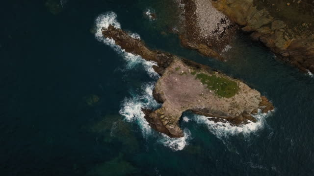 scenic view flying above cornwall coastline landscapes - 4k - coastal feature stock videos & royalty-free footage