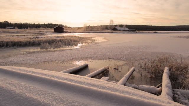 scenic view of a fishing boat on frozen landscape, lapland, finland - 不在点の映像素材/bロール