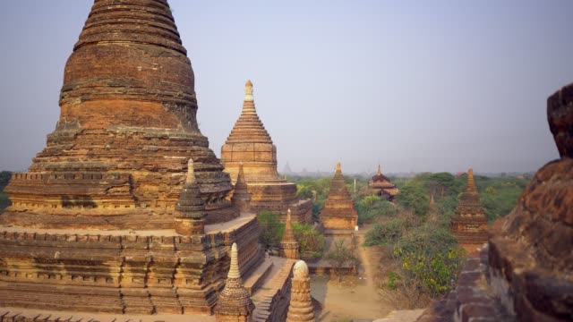 scenic view of bagan heritage site from above - bagan stock videos & royalty-free footage