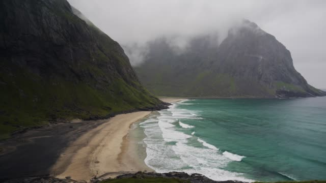 scenic view of beach on lofoten island from above - traditionally norwegian stock videos & royalty-free footage
