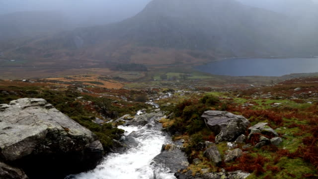 scenic view of beautiful highlands waterscapes - snowdonia stock videos & royalty-free footage