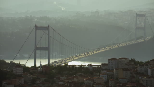scenic view of bosphorus bridge istanbul - july 15 martyrs' bridge stock videos & royalty-free footage