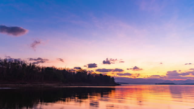 scenic view of colorful sunrise over tropical lake, dawn to day time lapse video - dawn to day stock videos & royalty-free footage