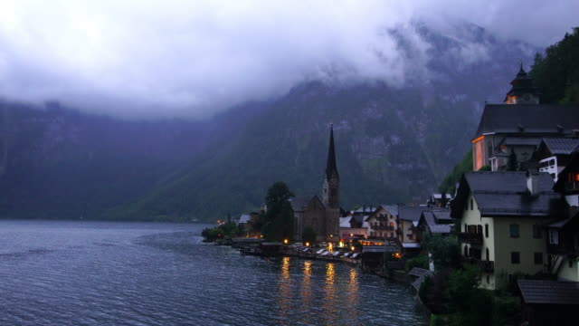 scenic view of famous hallstatt village in austria - austrian culture stock videos & royalty-free footage