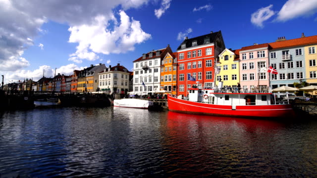 scenic view of famous nyhavn pier in the old town of copenhagen - oresund region stock videos & royalty-free footage