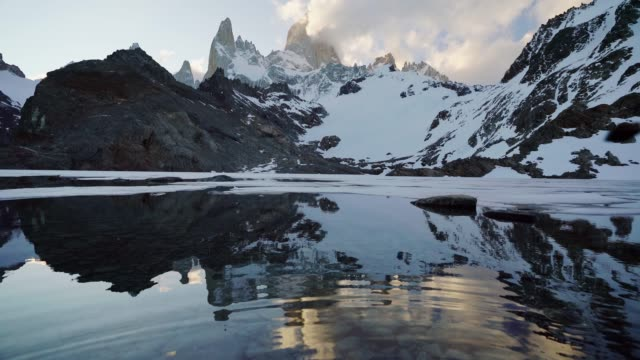 scenic view of fitz roy mountain in patagonia - argentina video stock e b–roll