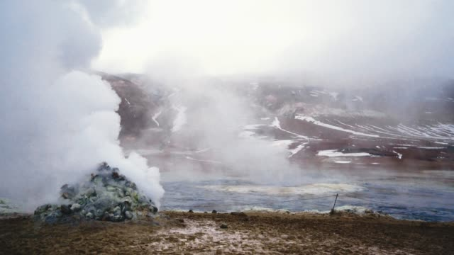 scenic view of hverir  in iceland  in winter - hot spring stock videos & royalty-free footage
