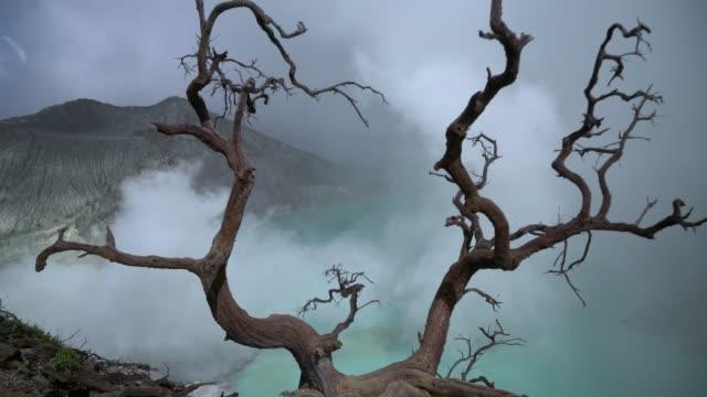 scenic view of ijen volcano and sulphur minings - mount semeru stock videos & royalty-free footage