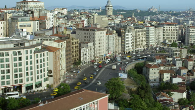 scenic view of istanbul with galata tower - galataturm stock-videos und b-roll-filmmaterial