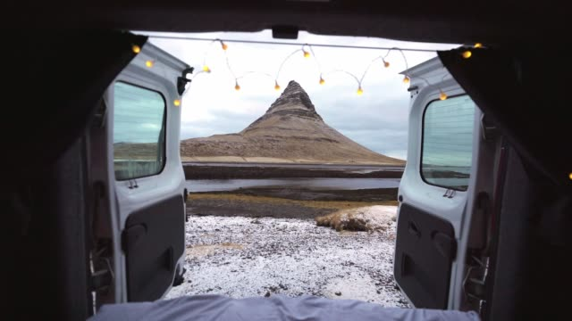 Scenic view of Kirkjufell mountain in Iceland in winter