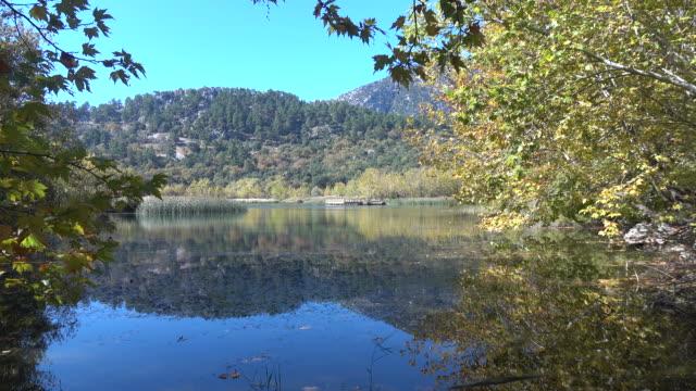 Vue panoramique du lac en automne en vidéo UHD