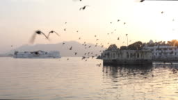 Scenic view of Lake Pichola and floating palaces