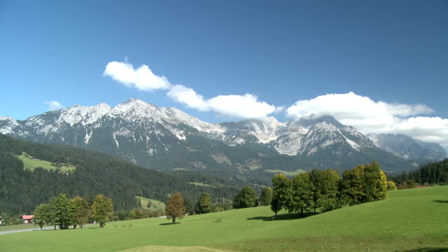 scenic view of meadow and mountains, wilder kaiser mountain - tyrol state austria stock videos and b-roll footage