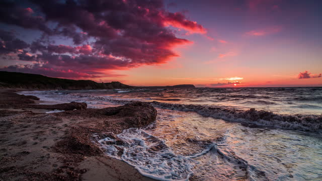 scenic view of mediterranean sea during sunset - slow motion - dreamlike stock videos & royalty-free footage