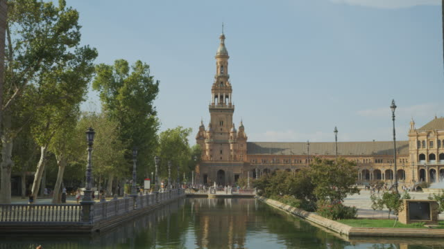 Scenic view of moat and tower at Plaza de Espana / Seville, Sevilla, Spain