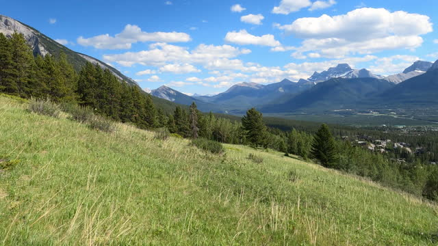scenic view of mountains and alpine meadow - grass stock videos & royalty-free footage