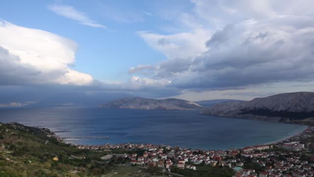 scenic view of rovinj and mediterranean sea - croatia stock videos & royalty-free footage