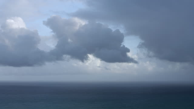 WS PAN AERIAL POV Scenic view of seascape against cloudy sky / Puerto Rico, United States