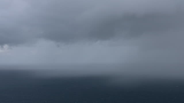 WS AERIAL POV Scenic view of seascape against cloudy sky / Puerto Rico, United States