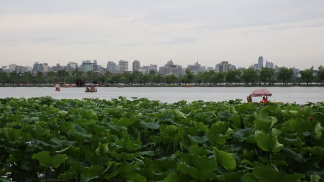 scenic view of the west lake against downtown skyline,hangzhou,china - zhejiang province stock videos & royalty-free footage
