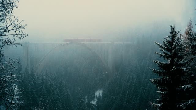 Vacker utsikt över tåget viadukten i Schweiz