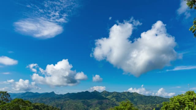 Scenic View of Tropical Mountains and Blue Sky with Moving Clouds. Time Lapse Video