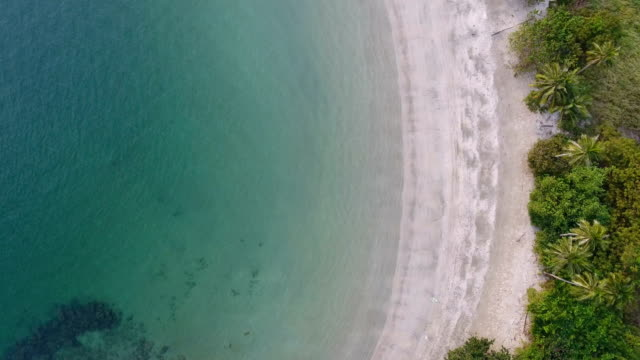 Scenic View of Tropical White Beach with Sunlight, Aerial overhead video