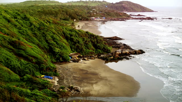 scenic view of vagator beach from chapora fort goa/india - goa stock videos & royalty-free footage