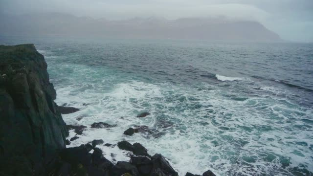 scenic view of waving sea in iceland - atlantic islands stock videos & royalty-free footage