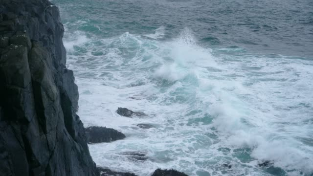 Scenic view of waving sea in Iceland