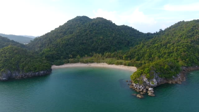 Scenic View of White Beach with Sunlight, Aerial video