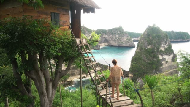 scenic view of woman near the  tree house near the sea on nusa penida - viewpoint stock videos & royalty-free footage