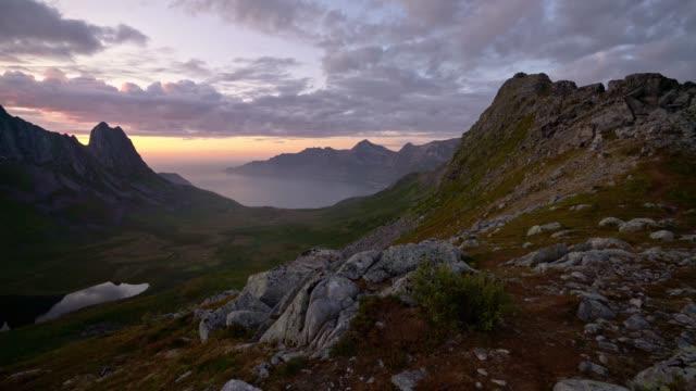 malerische aussicht auf senja island von den bergen - scenics stock-videos und b-roll-filmmaterial